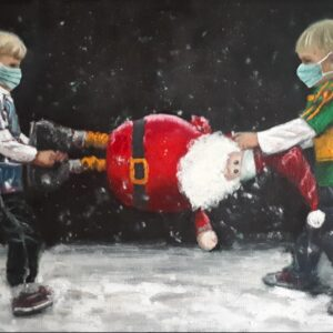 Two boys fighting over Santa wearing masks.