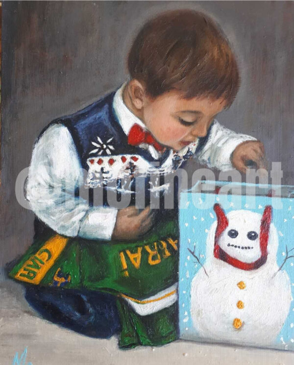 Little boy Christmas day reaching into a bag picture of Snowman on the front