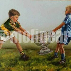Two boys Kerry and Dublin GAA fighting over the Sam Maguire