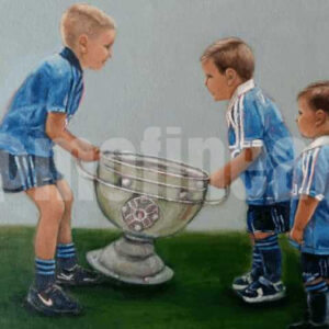 Three boys lifting the Sam Maguire