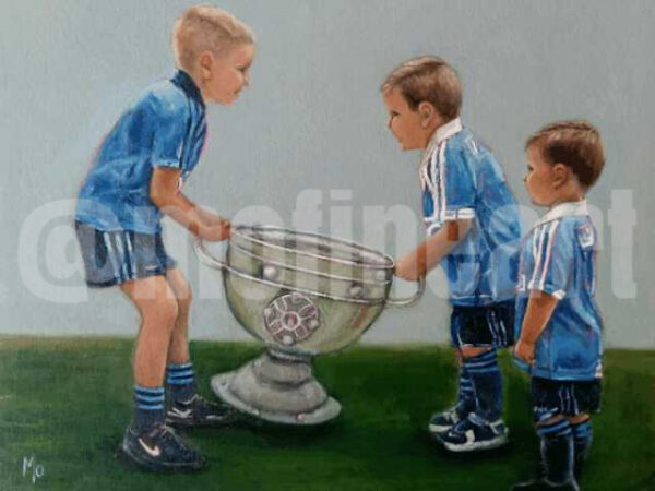 Three boys lifting the Sam Maguire