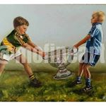 Two boys Dublin and Kerry GAA fighting over the Sam Maguire
