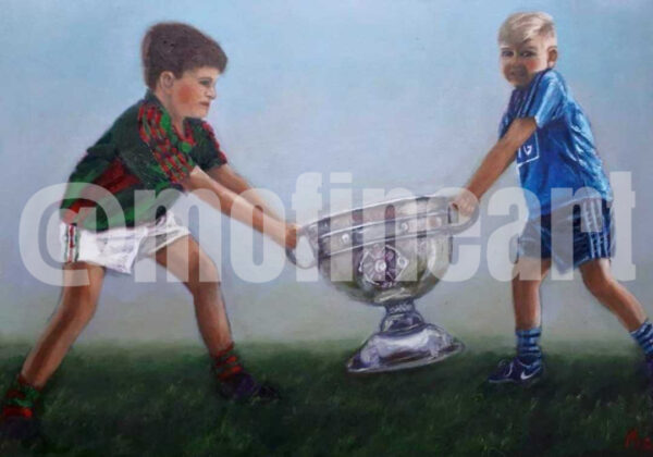 Mayo and Dublin boys in GAA jerseys fighting over the Sam Maguire
