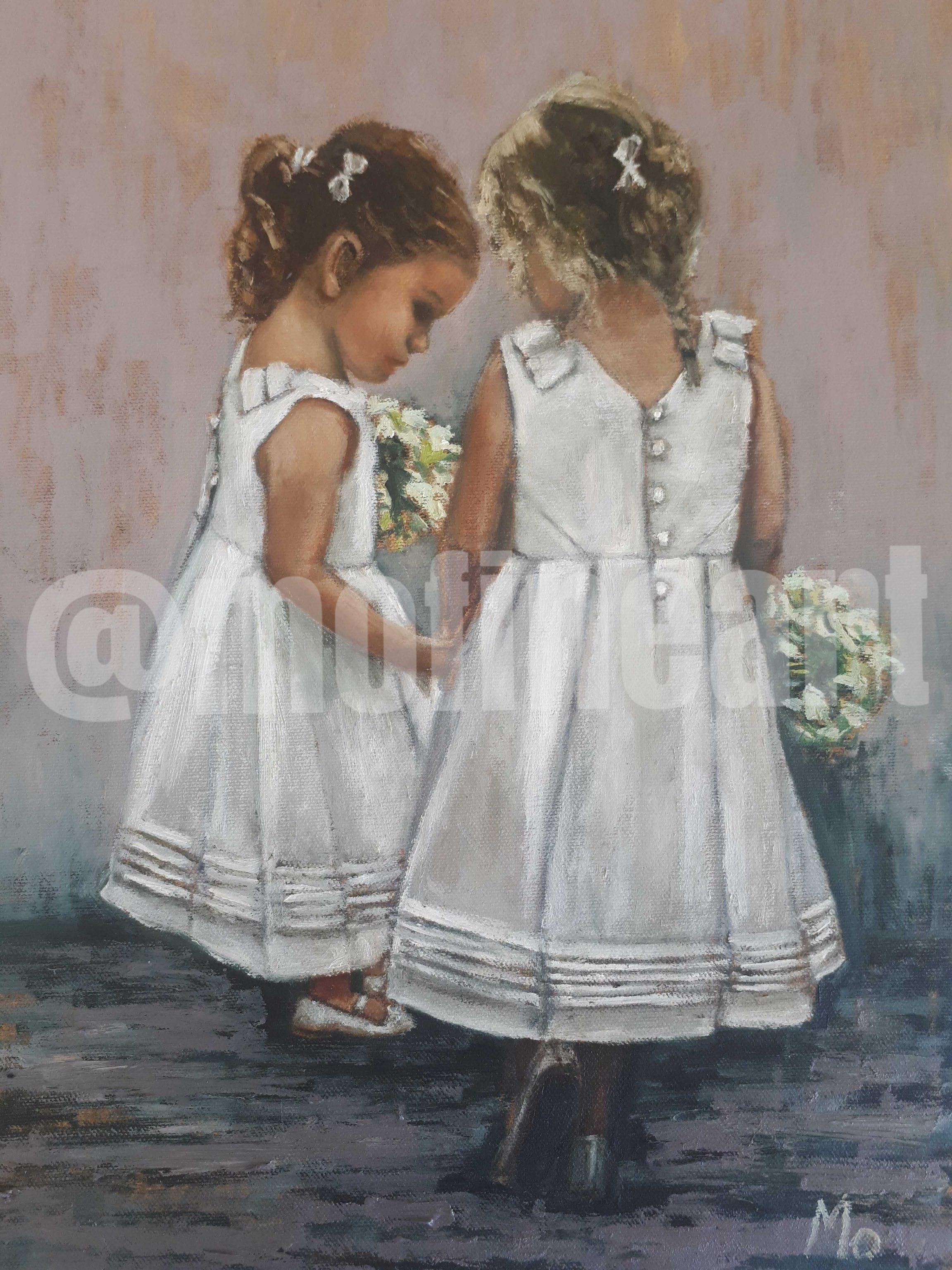 Two little girls in formal white dresses