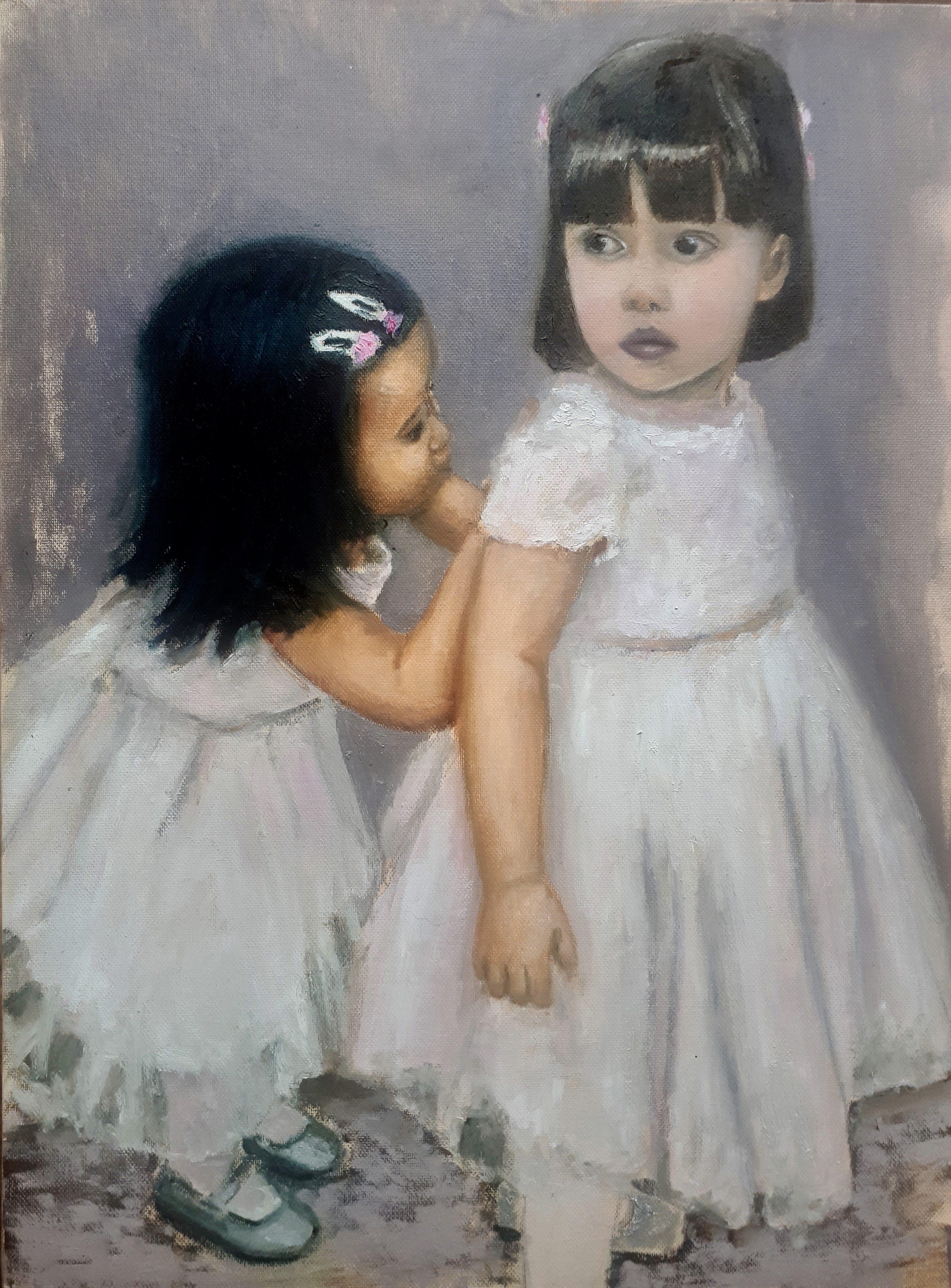 Two little girls white dresses