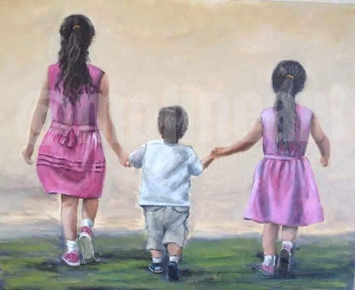Two girls a boy country stroll