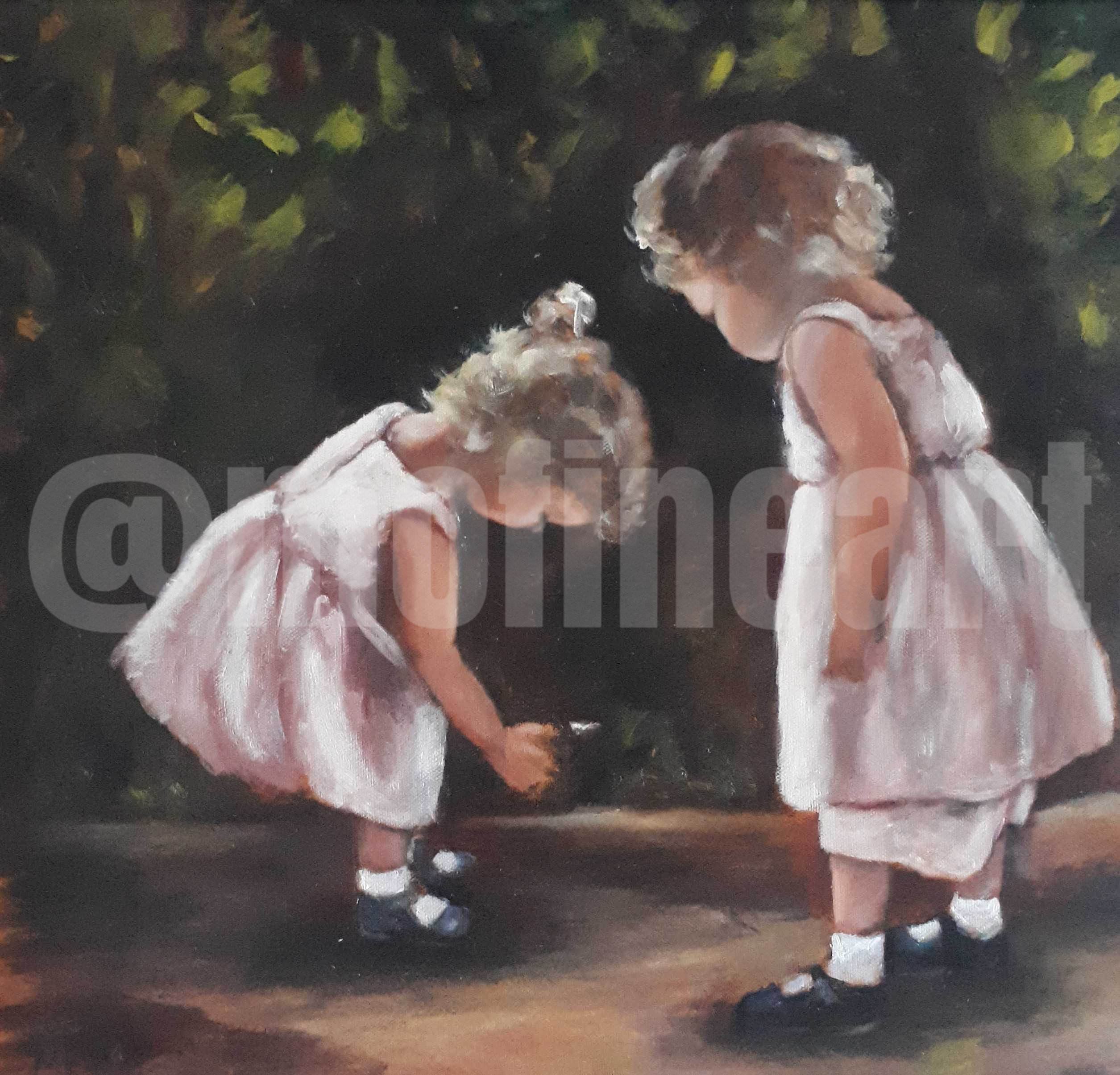 Two little girls pig tails pink dresses a feather