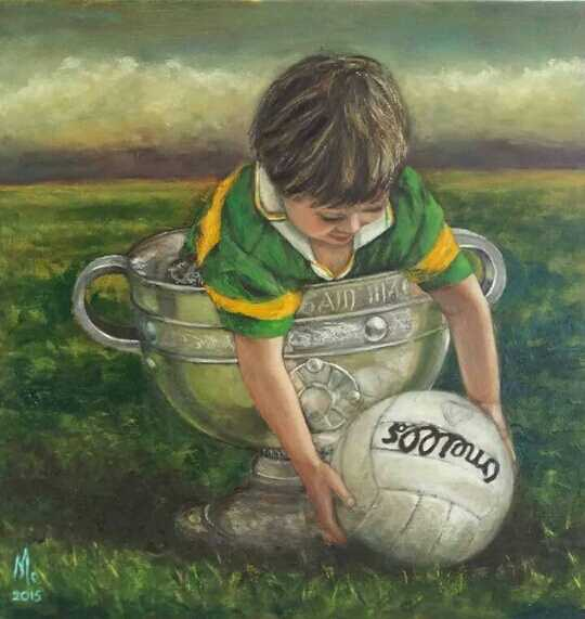Little boy Kerry gaa jersey in sam maguire with o;neills football