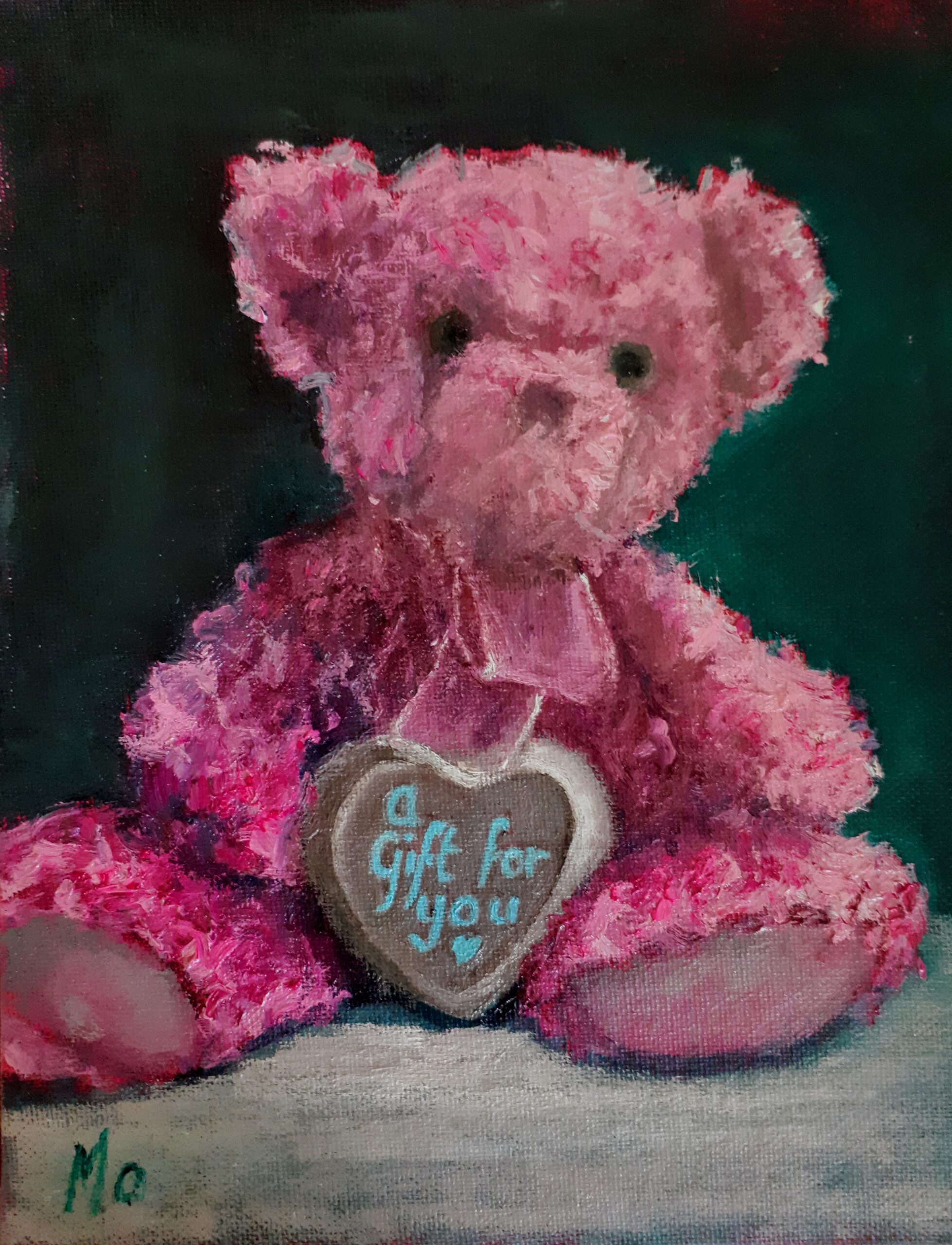 Pink Teddy Bear with a gift love heart
