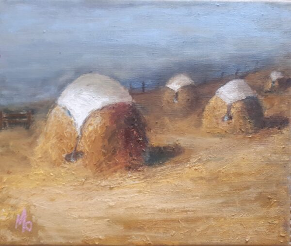 Old style haystacks with white sheets on top