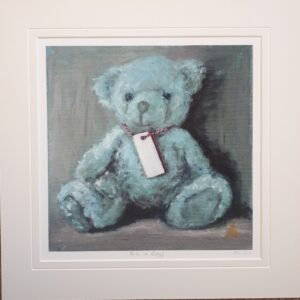 blue Teddybear with blank name tag.