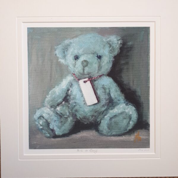 blue Teddybear with blank name tag.