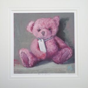 Little Pink Teddy Bear with a blank name tag