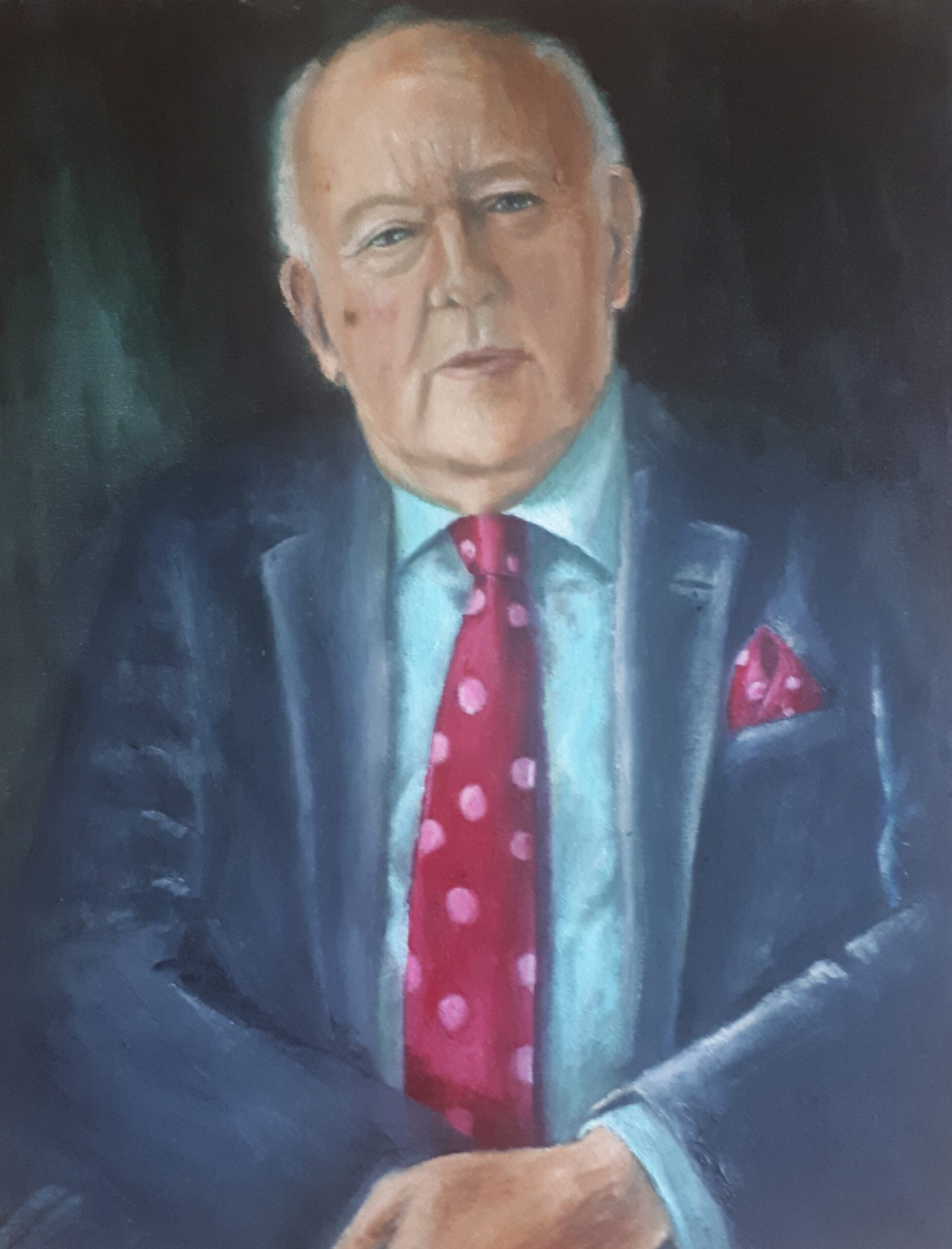 Oil Painting of a man in suit wearing a polka dot tie