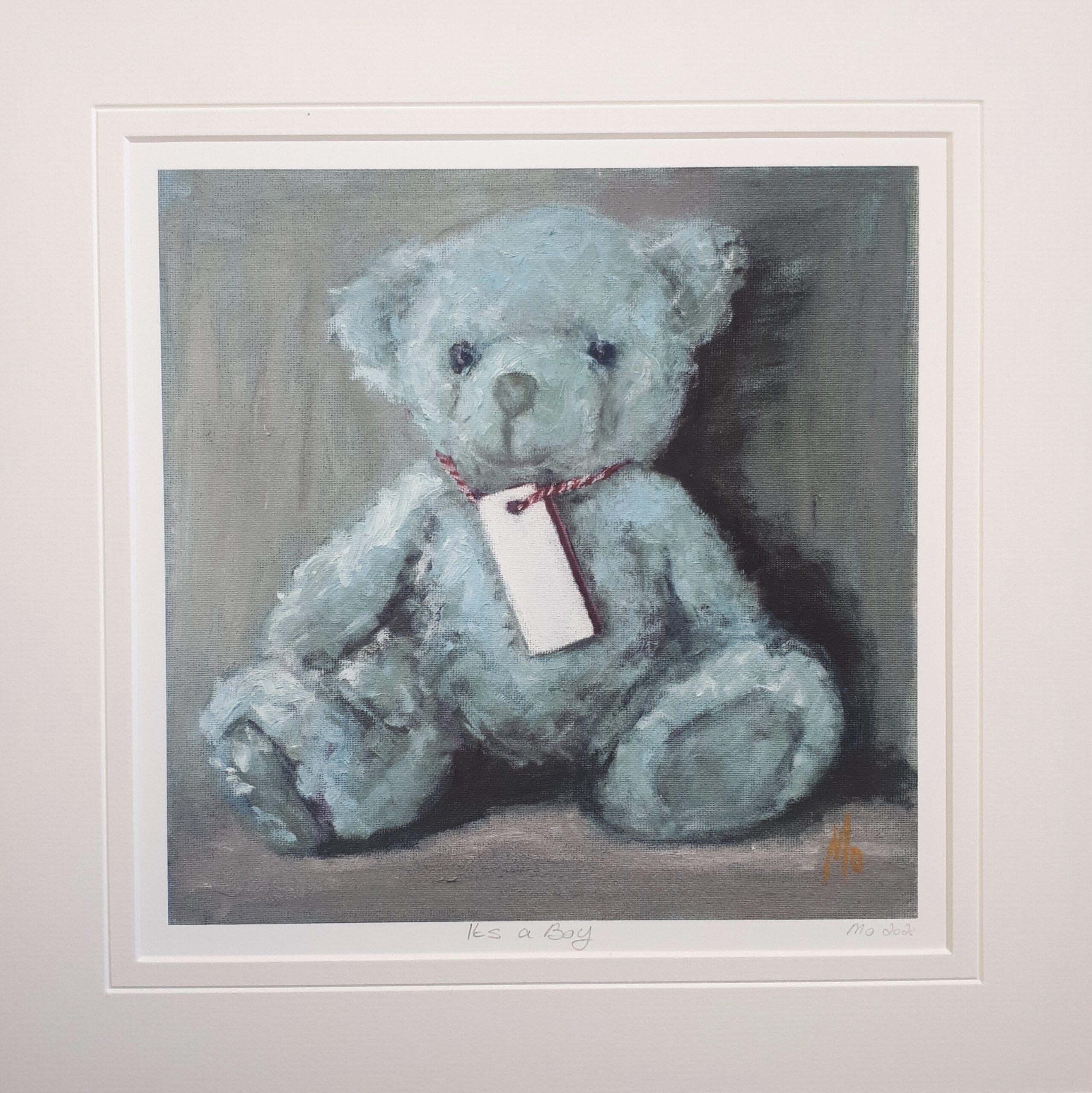 Little blue Teddybear with a blank name tag