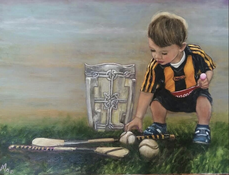 Little Boy Kilkenny Jersey with a hurley slitter and the Liam McCarthy Cup