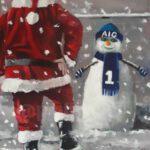 Santa playing GAA Snowmman in goals