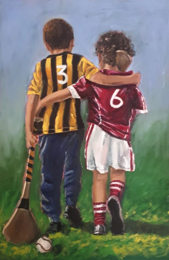 Two boys arms around each other GAA jerseys walking home after hurling match