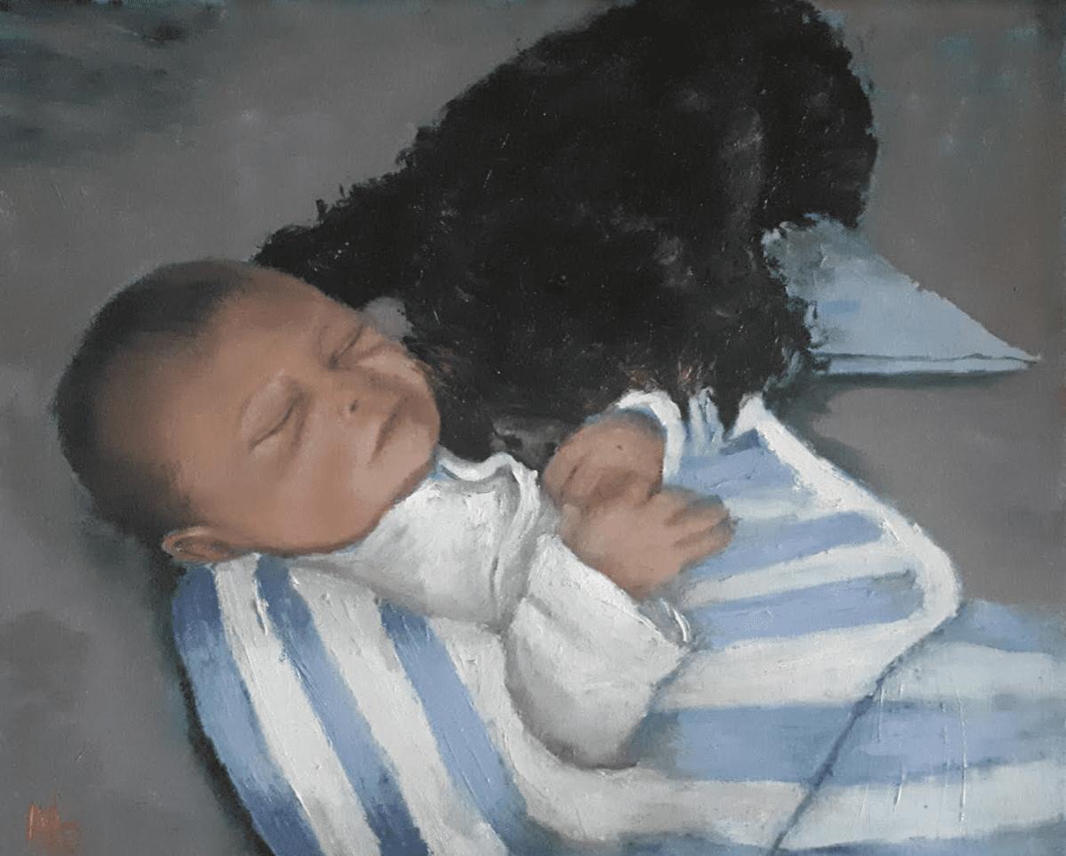 #giftideas #babygift #babygiftidea Baby boy and labradoodle sleeping